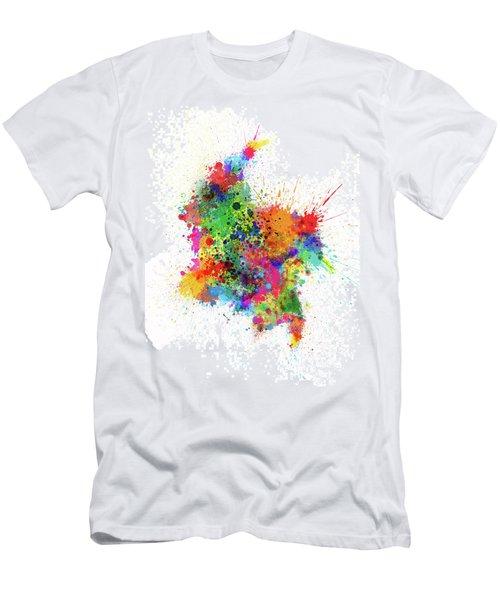 Colombia Paint Splashes Map Men's T-Shirt (Athletic Fit)