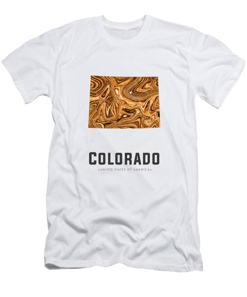 Colorado Map Art Abstract In Brown Men's T-Shirt (Athletic Fit)