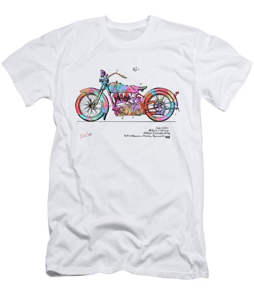 Colorful 1928 Harley Motorcycle Patent Artwork Men's T-Shirt (Athletic Fit)