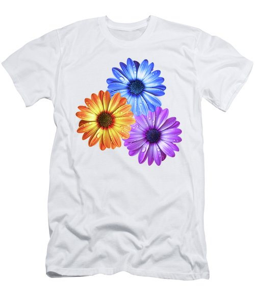 Colorful Daisies With Water Drops On White Men's T-Shirt (Athletic Fit)