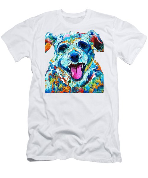 Colorful Dog Art - Smile - By Sharon Cummings Men's T-Shirt (Slim Fit) by Sharon Cummings