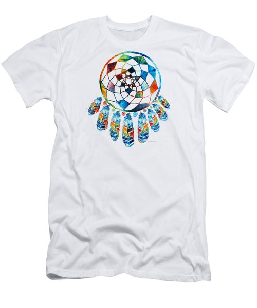 Men's T-Shirt (Slim Fit) featuring the painting Colorful Dream Catcher By Sharon Cummings by Sharon Cummings