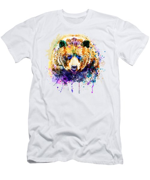 Colorful Grizzly Bear Men's T-Shirt (Athletic Fit)