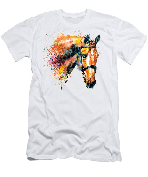 Colorful Horse Head Men's T-Shirt (Slim Fit) by Marian Voicu