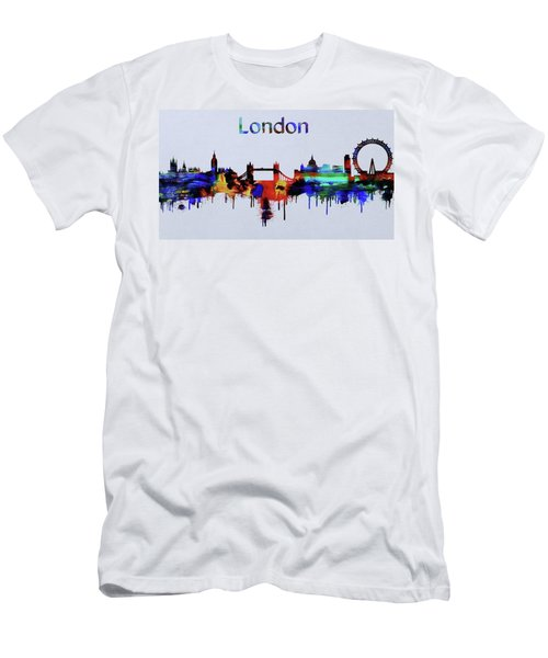 Colorful London Skyline Silhouette Men's T-Shirt (Slim Fit) by Dan Sproul