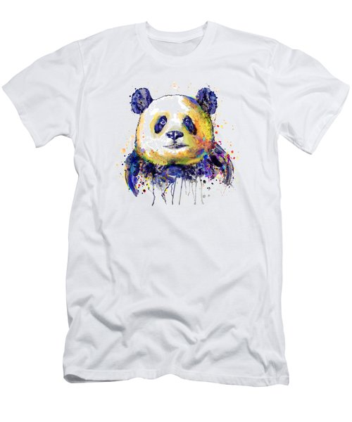 Men's T-Shirt (Slim Fit) featuring the mixed media Colorful Panda Head by Marian Voicu