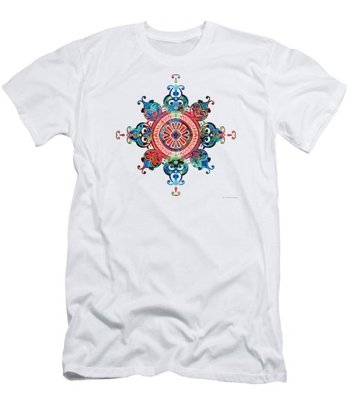 Men's T-Shirt (Slim Fit) featuring the painting Colorful Pattern Art - Color Fusion Design 3 By Sharon Cummings by Sharon Cummings