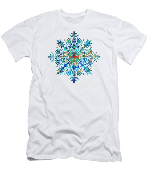 Men's T-Shirt (Slim Fit) featuring the painting Colorful Pattern Art - Color Fusion Design 5 By Sharon Cummings by Sharon Cummings