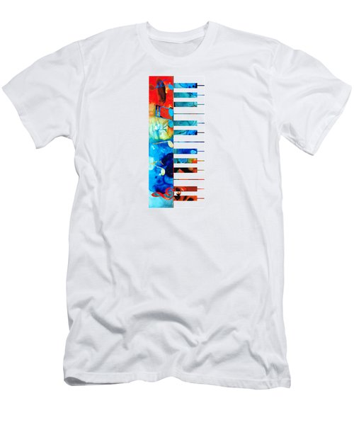 Colorful Piano Art By Sharon Cummings Men's T-Shirt (Slim Fit) by Sharon Cummings