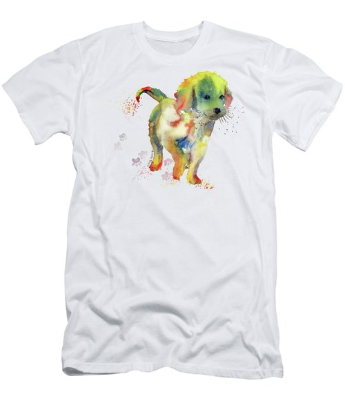 Colorful Puppy Watercolor - Little Friend Men's T-Shirt (Slim Fit) by Melly Terpening