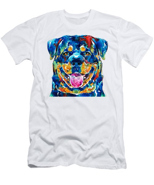Colorful Rottie Art - Rottweiler By Sharon Cummings Men's T-Shirt (Slim Fit) by Sharon Cummings