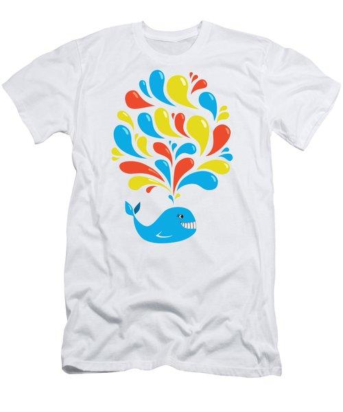 Colorful Swirls Happy Cartoon Whale Men's T-Shirt (Slim Fit) by Boriana Giormova
