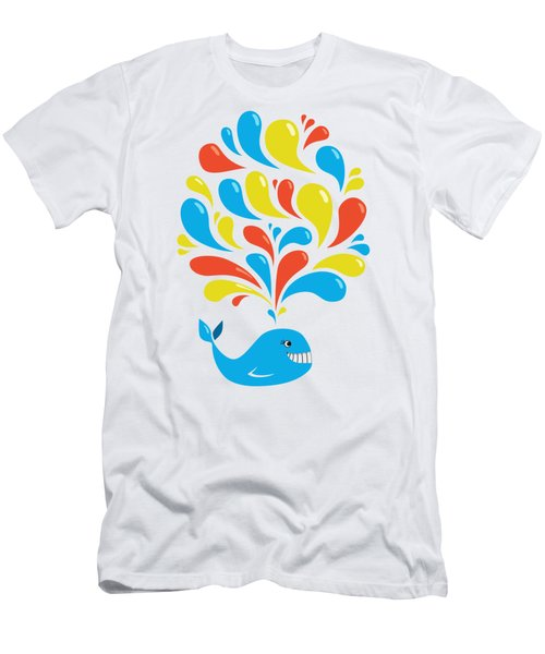 Colorful Swirls Happy Cartoon Whale Men's T-Shirt (Athletic Fit)
