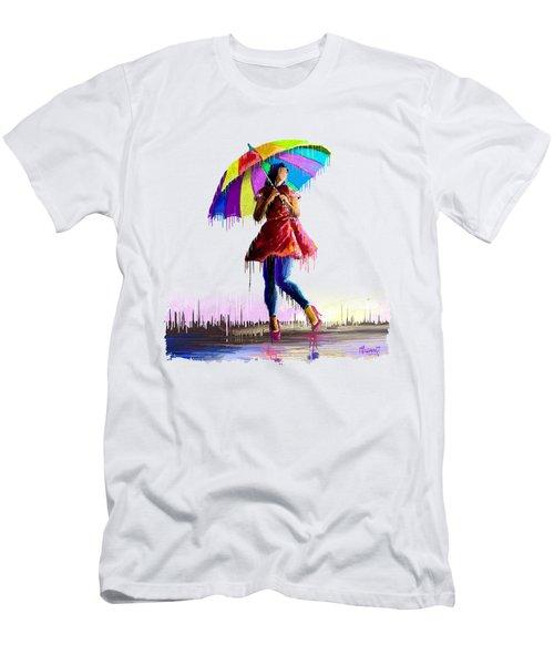 Colorful Umbrella Men's T-Shirt (Athletic Fit)