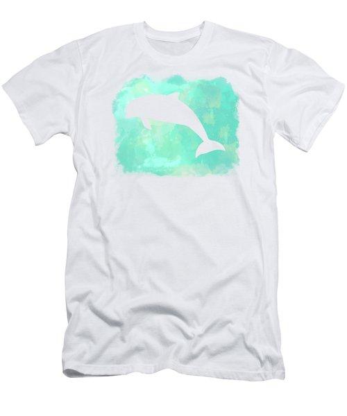 Colorful Watercolor Dolphin Sea Life Coastal Art Men's T-Shirt (Athletic Fit)