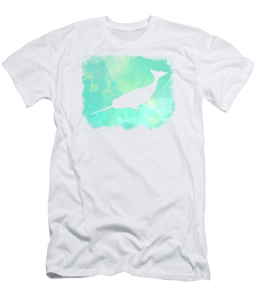 Colorful Watercolor Narwhal Sea Life Coastal Art Men's T-Shirt (Athletic Fit)