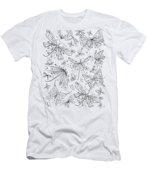 Coloring Page For Adults Butterflies And Dragonflies By Madart Men's T-Shirt (Athletic Fit)