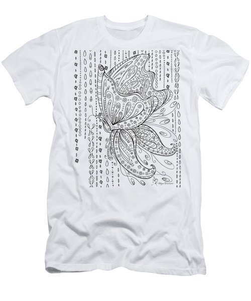 Coloring Page With Beautiful Butterfly Drawing By Megan Duncanson Men's T-Shirt (Athletic Fit)