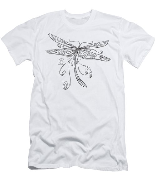 Coloring Page With Beautiful Dragonfly Drawing By Megan Duncanson Men's T-Shirt (Athletic Fit)