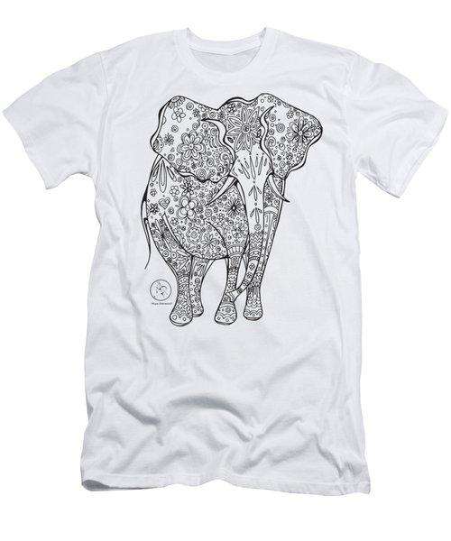 Coloring Page With Beautiful Elephant Drawing By Megan Duncanson Men's T-Shirt (Slim Fit) by Megan Duncanson