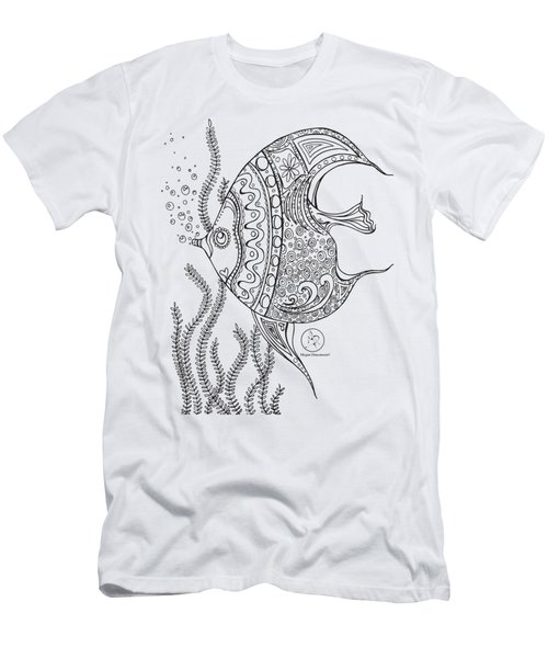 Coloring Page With Beautiful Fish Drawing By Megan Duncanson Men's T-Shirt (Athletic Fit)