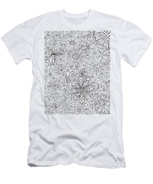 Coloring Page With Beautiful In The Garden 6 Drawing By Megan Duncanson Men's T-Shirt (Athletic Fit)