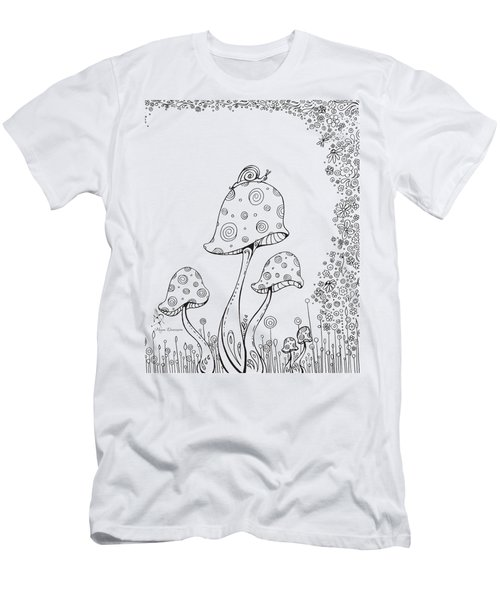 Coloring Page With Beautiful In The Garden 8 Drawing By Megan Duncanson Men's T-Shirt (Slim Fit) by Megan Duncanson