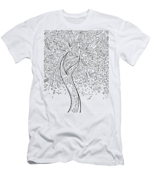 Coloring Page With Beautiful In The Garden 5 Drawing By Megan Duncanson Men's T-Shirt (Athletic Fit)