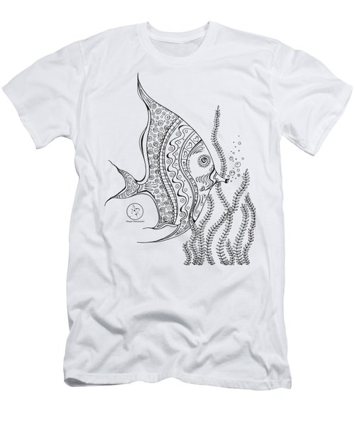 Coloring Page With Beautiful Tropical Fish 2 Drawing By Megan Duncanson Men's T-Shirt (Athletic Fit)