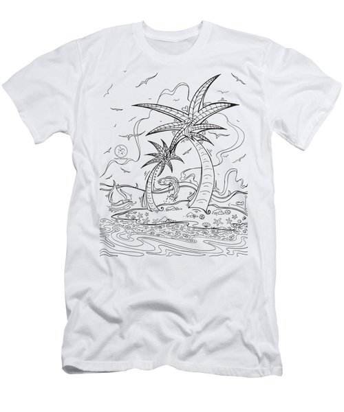 Coloring Page With Beautiful Tropical Island Drawing By Megan Duncanson Men's T-Shirt (Athletic Fit)