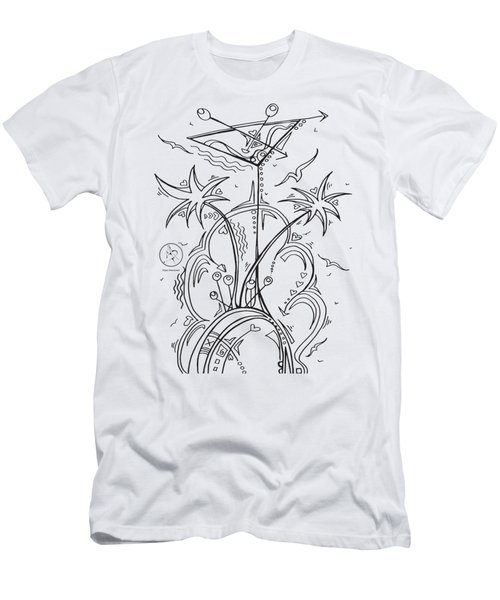 Coloring Page With Beautiful Tropical Martini Drawing By Megan Duncanson Men's T-Shirt (Slim Fit) by Megan Duncanson