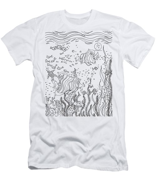 Coloring Page With Beautiful Underwater Scene Drawing By Megan Duncanson Men's T-Shirt (Athletic Fit)