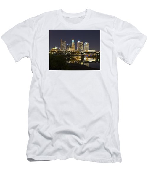 Men's T-Shirt (Slim Fit) featuring the photograph Columbus Skyline 2 by Alan Raasch