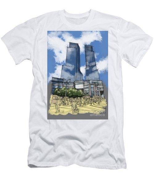 Columbus Square New York Sketch Croquis Men's T-Shirt (Athletic Fit)