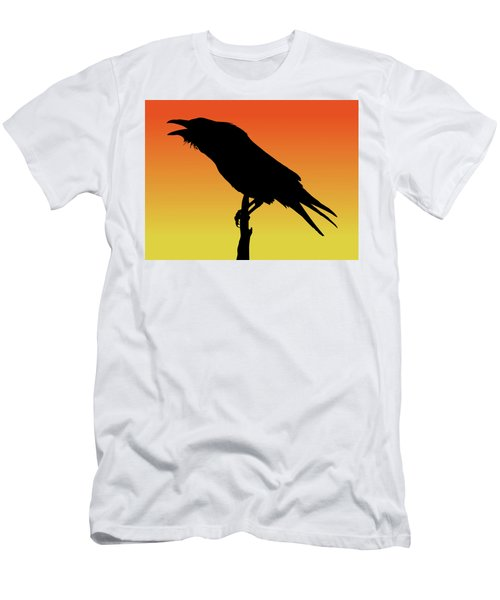 Common Raven Silhouette At Sunset Men's T-Shirt (Athletic Fit)
