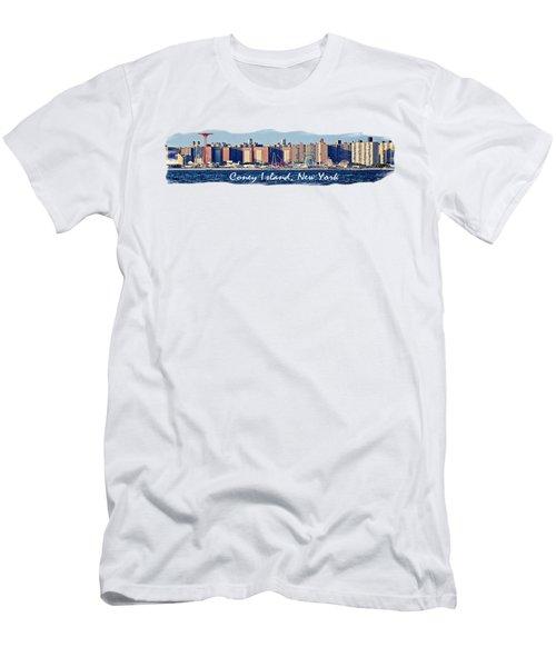 Coney Island Ny  Men's T-Shirt (Slim Fit) by Lilliana Mendez