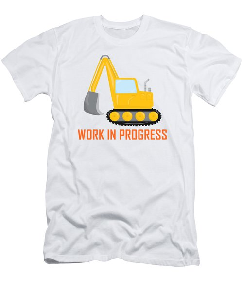 Construction Zone - Excavator Work In Progress Gifts - White Background Men's T-Shirt (Athletic Fit)