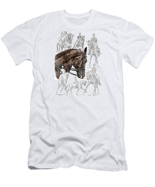 Men's T-Shirt (Slim Fit) featuring the drawing Contemplating Collection - Dressage Horse Print Color Tinted by Kelli Swan