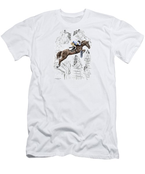Men's T-Shirt (Slim Fit) featuring the drawing Contemplating Flight - Horse Jumper Print Color Tinted by Kelli Swan