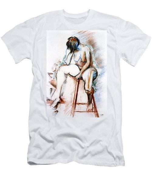 Contemplation - Nude On A Stool Men's T-Shirt (Athletic Fit)