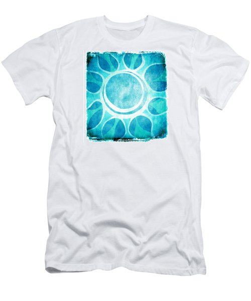 Men's T-Shirt (Slim Fit) featuring the digital art Cool Blue Flower by Lenny Carter