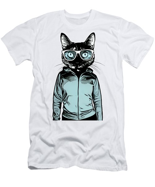 Men's T-Shirt (Slim Fit) featuring the mixed media Cool Cat by Nicklas Gustafsson