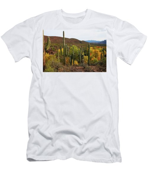 Coon Creek With Saguaros And Cottonwood, Ash, Sycamore Trees With Fall Colors Men's T-Shirt (Slim Fit) by Tom Janca
