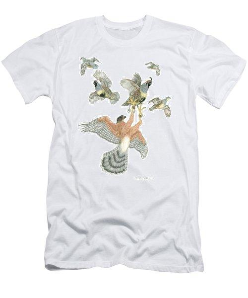 Cooper's Hawk And Gambels Quail Men's T-Shirt (Athletic Fit)