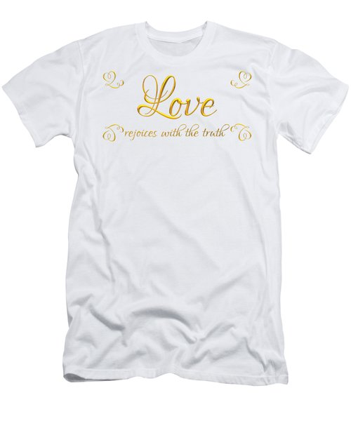 Corinthians Love Rejoices With The Truth Men's T-Shirt (Athletic Fit)