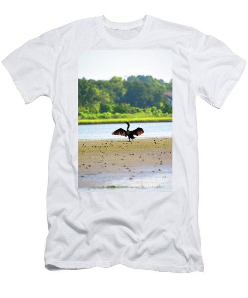 Cormorant At Topsail Beach Men's T-Shirt (Slim Fit) by Eva Kaufman