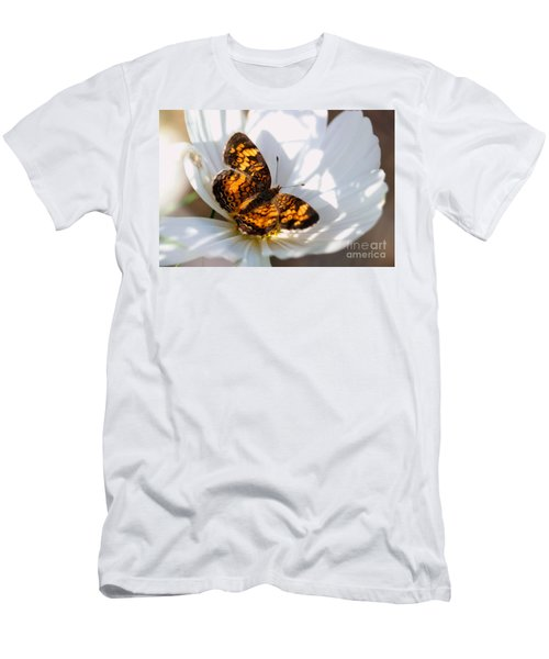Pearl Crescent Butterfly On White Cosmo Flower Men's T-Shirt (Athletic Fit)