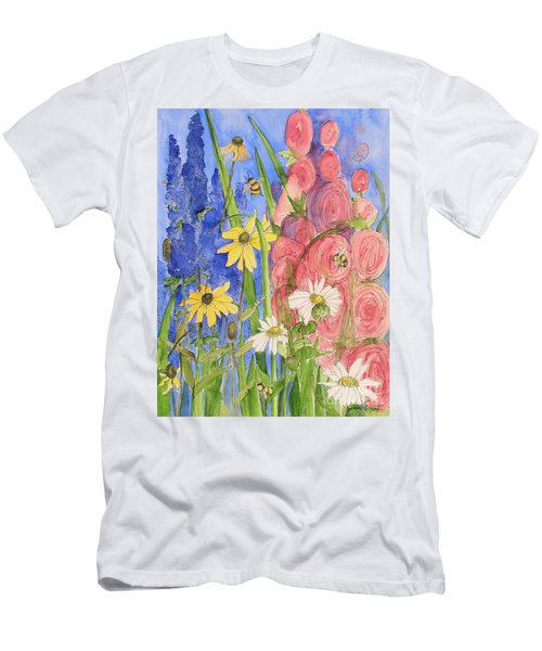 Cottage Garden Daisies And Blue Skies Men's T-Shirt (Slim Fit) by Laurie Rohner