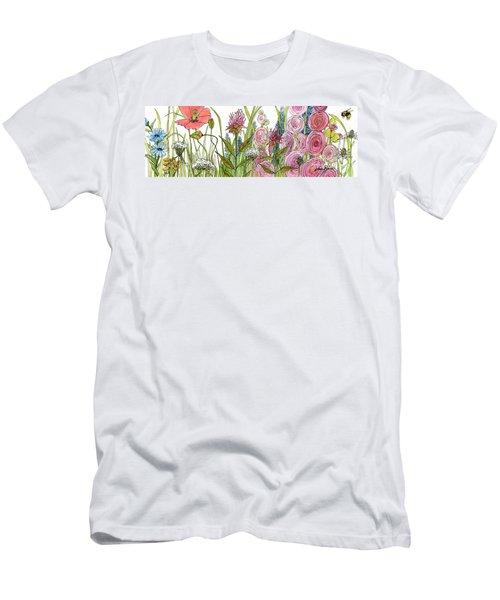 Cottage Hollyhock Garden Men's T-Shirt (Athletic Fit)