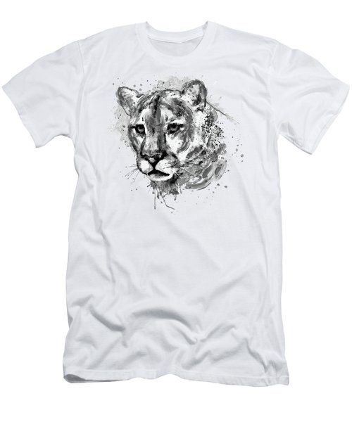 Men's T-Shirt (Slim Fit) featuring the mixed media Cougar Head Black And White by Marian Voicu